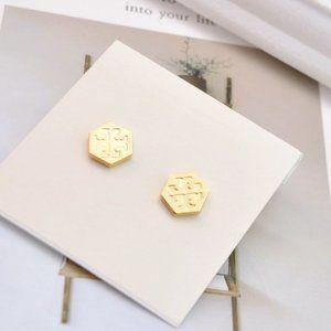 Tory Burch Simple Glossy Hexagon Earrings